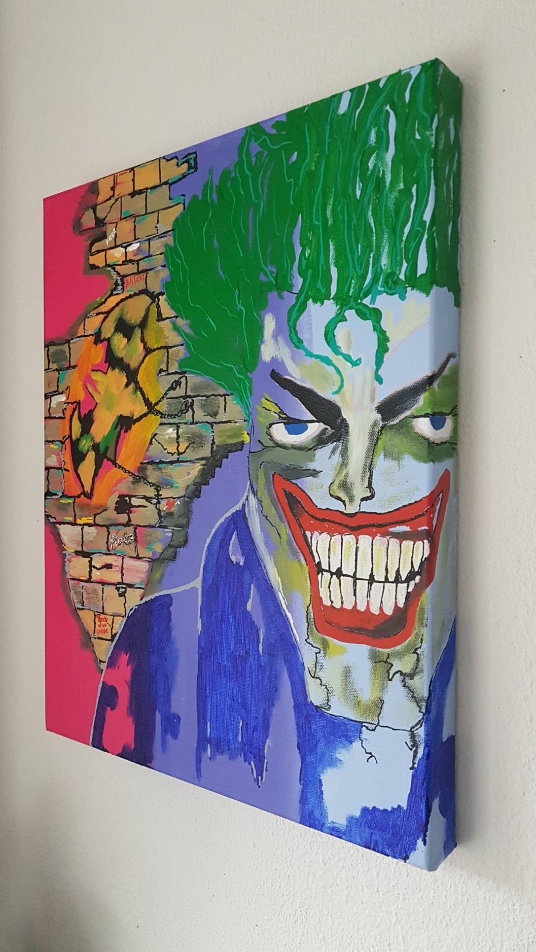 BATMAN THE JOKER 40X50X4 COMICS COLOUR PAINTING INSTAGRAM GOOGLE ART.