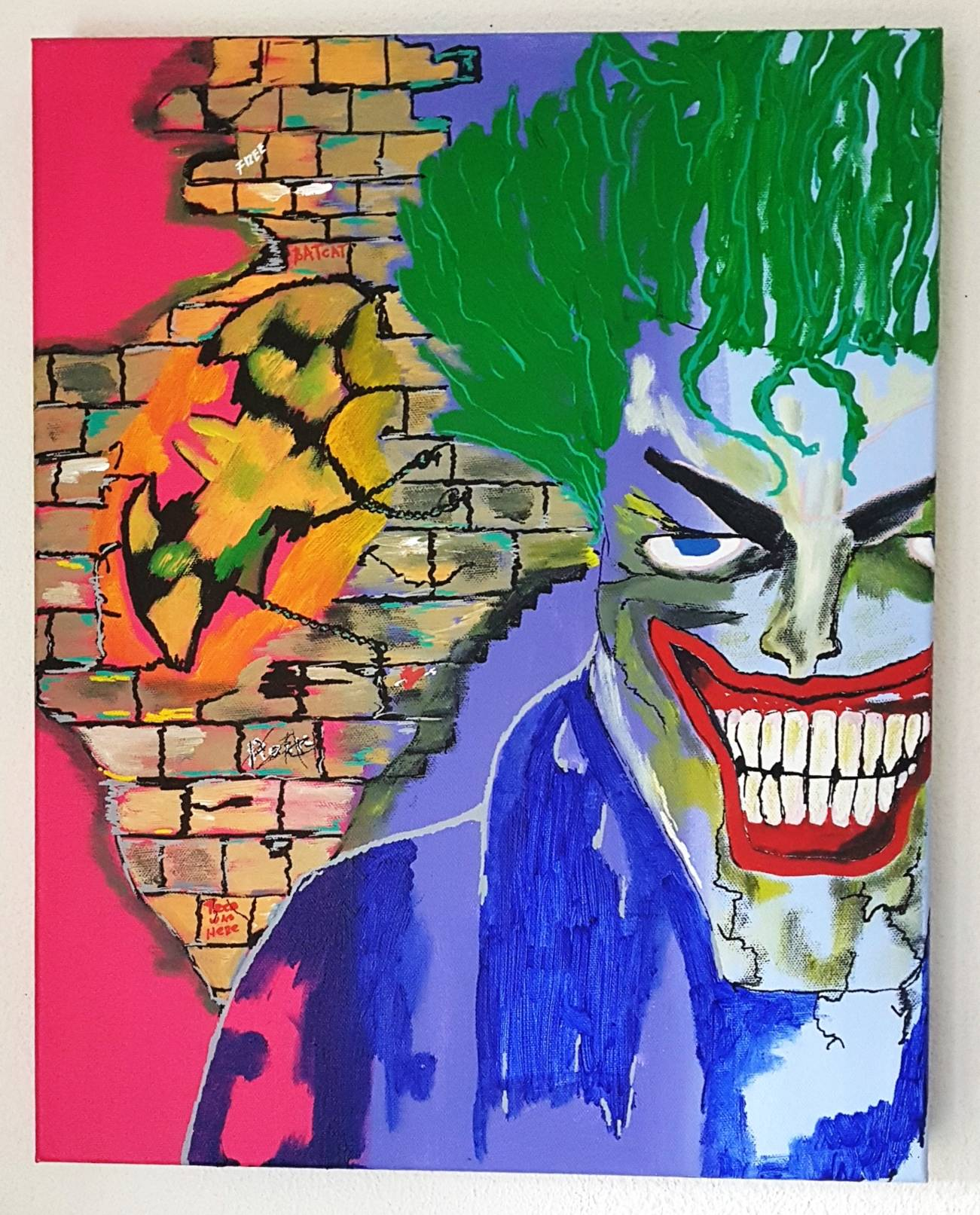 BATMAN THE JOKER 40X50X4 COMICS COLOUR PAINTING INSTAGRAM GOOGLE ART
